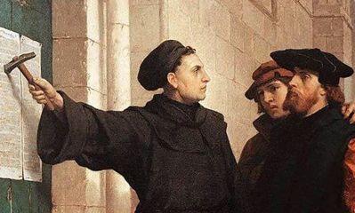 Lutero clavando las 95 tesis en la puerta de la iglesia de Todos los Santos, de Wittenberg